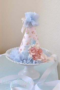 READY TO SHIP, Girls Shabby Chic Garden Rose Birthday Party Hat, Special Occasion, first birthday, Party Hat