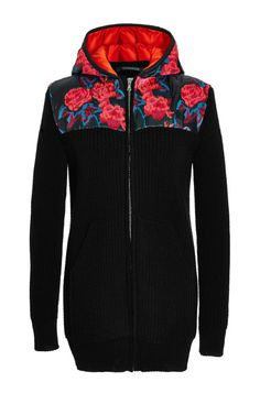 Embroidered merino knit zipped front hoodie by Thakoon