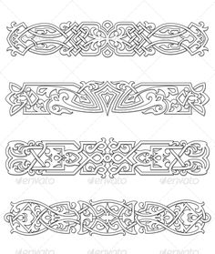 Buy Retro Borders and Ornaments by VectorTradition on GraphicRiver. Retro borders and ornaments set for design and ornate. Editable (you can use any of your vector program) and JPE. Celtic Patterns, Celtic Designs, Celtic Symbols, Celtic Art, Leather Carving, Leather Tooling, Viking Art, Carving Designs, Leather Pattern