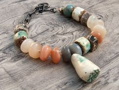 Moonstone ceramic rustic bracelet primitive by WinterBirdStudio