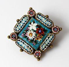 VTG Italian Handmade Flower Micro Mosaic Micro-mosaic Small Diamond Shaped Pin