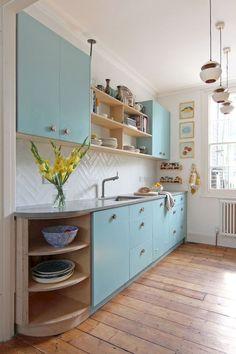 Ideas for odd shaped kitchen with awkward low window for Scandinavian kitchen backsplash