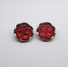 Red Acrylic Clip On Earrings Clip On Earrings, Stud Earrings, Gemstone Earrings, Cufflinks, Gemstones, Red, Accessories, Studs, Ear Jewelry