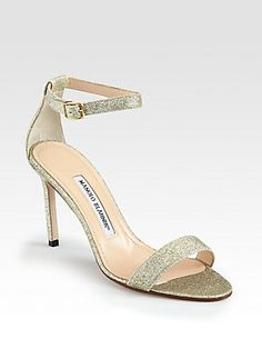 Manolo Blahnik Chaos Patent Leather Ankle Strap Sandals