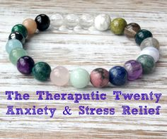 The Therapeutic Twenty Anxiety Relief Bracelet, Healing Crystals, Stress Relief, Calming Mala Beads, Inner Peace + Soothing + Relaxation