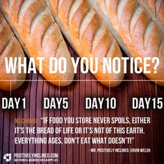 Food for thought..Should we be celebrating a bread that last longer than 2 weeks with no VISIBLE signs of spoilage. God created natural expiration dates, keep 'em there ;-/