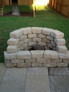 Easy fire pit for the bottom of our deck
