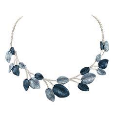 Garland Denim Blue Enamel Leaves Silver Tone Necklace