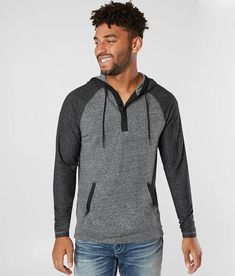 BKE Storyteller Hooded Henley - Men's Sweatshirts in Charcoal Heather Womens Fashion Stores, Mens Sweatshirts, Storytelling, Hoods, Model, Sleeves, How To Wear, Cotton, Jackets