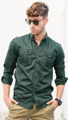 Men'S modern utility shirt in green khaki shirt, green shirt, men's fashion, autumn Khaki Shirt, Denim Shirt Men, Cargo Shirts, Mens Fashion Suits, Men's Fashion, Fall Shirts, Casual Shirts, Casual Outfits, Shirt Style