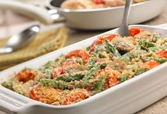 Here's a savory spin on a classic...sautéed mushrooms and onions,andfresh tomato wedgesadd wonderful flavor to this casserole that gets topped with cheesy breadcrumbs.