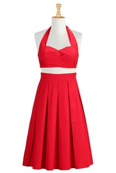 Red cotton poplin bra letter and skirt from eShakti