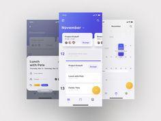 Mellow UI Kit Calendar designed by Benedikt Matern for Yung & Frish. Calendar Ui, Calendar Design, Event Calendar, Web Design, App Ui Design, Application Design, Mobile Application, Mobile Ui Design, Mobile App Ui