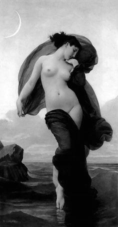 "missvoodoodoll: ""  William-Adolphe Bouguereau- La Nuit (1883) and Humeur…"