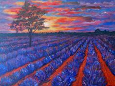 Sunset over lavender field by Inese Auzina Lavender Fields, Sunset, Artist, Painting, Etsy, Vintage, Artists, Painting Art, Paintings