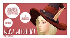 """Witch Hat """"This is a conversion of the Hat of the First Sister, Hat of the Second Sister, Hat of the Third Sister, and Hat of the Youngest Sister from WoW! It may look odd with certain face shapes–. Scary Halloween Decorations, Halloween Witches, Halloween Halloween, Maxis, Sims 4 Hair Male, Cc Hats, Sims 4 Characters, Sims 4 Mm, Sims 4 Cc Finds"""