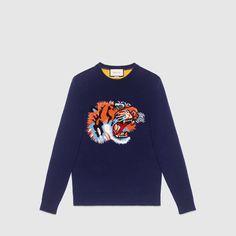 0894533c24e Gucci Wool sweater with tiger intarsia Wool Cardigan