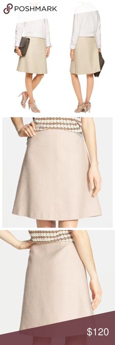 """Coming Soon: Tory Burch Denise A-Line Skirt Polished and classic structured Tweed A-Line skirt, fully lined with a side zipper. Color is beige (Island Harbor). Material is 71% cotton 28% rayon 1% spandex. The lining is 100% Silk. Measures 22"""" length 30"""" waist. Tory Burch Skirts A-Line or Full"""