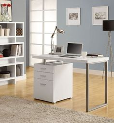 "White Hollow-Core Left Or Right Facing Desk - Monarch Specialties simple yet practical ""hollow-core"" desk is the perfect addition to your home office. The white finished desk can conveniently be placed on the left or right side offering yo Home Office Desks, Home Office Furniture, Office Table, Furniture Decor, Furniture Design, Basement Furniture, Office Playroom, Furniture Showroom, Office Spaces"