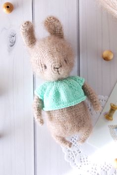 Crochet rabbit soft animal toy, cute gift for kids, kids room decor. This charming bunny will bring good mood, joy, and love to his new home! Rabbit Toys, Bunny Toys, Baby Bunnies, Crochet Cozy, Crochet Rabbit, Pet Toys, Kids Toys, Cute Stuffed Animals, Stuffed Toys