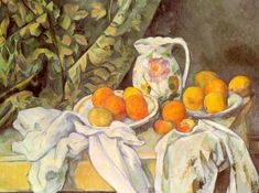 [Paul Cezanne - art print, poster - Still Life with Curtain and Jug (aka Apples and Peaches)] Cezanne Art, Paul Cezanne Paintings, Aix En Provence, Cezanne Still Life, Philippe De Champaigne, Still Life With Apples, Impressionism Art, Oil Painting Reproductions, Stretched Canvas Prints