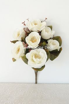 Sweet Home Deco 12''T Silk Western Rose Artificial Flower Bush (7 Flower Heads) (White) * You can get more details by clicking on the image.