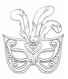 Fasching Maske Ausmalbilder Feder #children #print #carnival