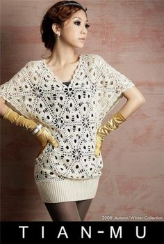 Hooked on crochet: Japanese crochet top / Blusa japonesa de crochê  Site includes graph for the motif and pictorial instructions for assembling.