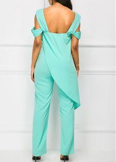 Strappy Cold Shoulder Green Overlay Jumpsuit | liligal.com - USD $38.21