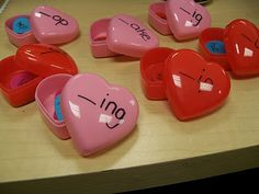Might change this and fill each heart with letters and see if they can figure out the word...I have a heart punch and will put one letter per punch, fill the heart, and kids will make the word (sight words/science words/other curriculum based words), then record it on paper!