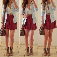 Red skirt, white crop top, light wash shirt, brown heel boots, brown bag