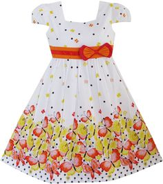 Girls' Clothing (2-16 Years) Kids' Clothes, Shoes & Accs. Sunny Girls Orange Cotton A Line Summer Dress Age 7-8 Years
