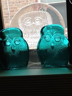 Blenko owl bookends with Don Sheppard owl platter