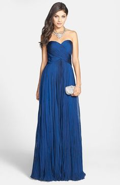 La Femme Strapless Sweetheart Chiffon Gown | Nordstrom