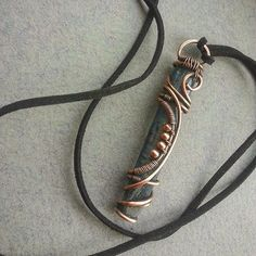 "From the Artist: ""New copper pendant with blue kyanite. Soon in my shop on Etsy WireGalaxy. """