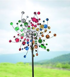 New Yard Art Garden Decor Metal Stake Outdoor Sculpture Multi Color Lawn  Statue