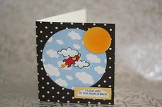 Too the Moon...and back ... rocket card, flying, clouds, sky