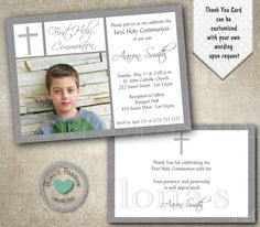 Grey First Holy Communion Invitation Baptism by IlonaPaperPassion