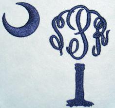 Palm Tree Monogram Palmetto Embroidery Design | Apex Embroidery Designs, Monogram Fonts & Alphabets