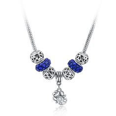 Long Silver Blue Necklace Beads Charms  SPECIAL by BejeweledGifts