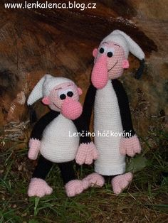 Křemílek a Vochomůrka Crochet Dolls, Knit Crochet, Elves, Hobbit, Diy And Crafts, Projects To Try, Crochet Patterns, Teddy Bear, Knitting