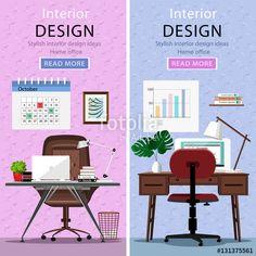 ベクター: Modern graphic workplaces with table, office chair, lamp and laptop. Office room set. Room interiors. Flat style vector illustration.点