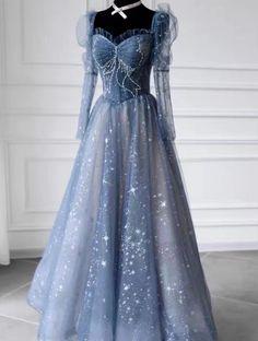 Long sleeve prom dress, temperament evening dress,princess dress,custom Prom Dresses Long With Sleeves, Blue Dresses, Formal Dresses, Different Fabrics, Dress For You, Custom Made, Evening Dresses, Party Dress, Long Sleeve