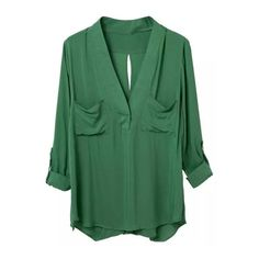 Green Pockets Cross Back Long Sleeve Blouse (26 CAD) ❤ liked on Polyvore featuring tops, blouses, shirts, green, blusas, green shirt, pocket tops, green top, criss cross back top and long sleeve blouse