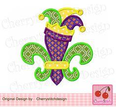 Jester Fleur De Lis- Fleur De Lis Digital Embroidery Applique -4x4 5x7 6x10-Machine Embroidery Applique Design