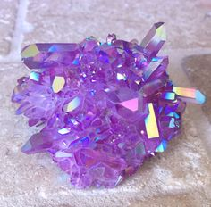 purple galaxy aura quartz cluster