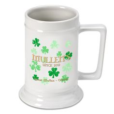 Personalized 16 oz. Raining Clovers German Beer Steins #Irish #StPatricksDay. Dress up your home bar or customize a gift for your favorite beer-lover with our selection of 16-ounce personalized beer mugs. These ceramic mugs come with a place for two lines of text plus a third for the year established.