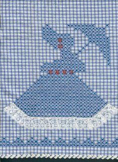 Broderie Suisse Chicken scratch Swiss embroidery Bordado espanol Stof veranderen.