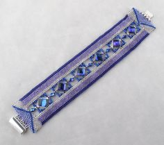 Purple/Blue Diamonds on Peyote Band Bracelet by ArtbyLea on Etsy
