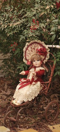 "Victorian Doll in Buggy!  Did you know you can put your own pictures on a ""Greeting Card"" or ""Thinking of You"" card for your family and friends?  I sent this one to my mom just for fun last week. She loved it! Check the link behind this photo for more information on how to design your own cards."
